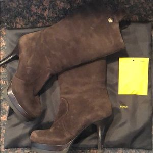 Authentic Fendi Brown Suede Mid Rise Boots 7.5